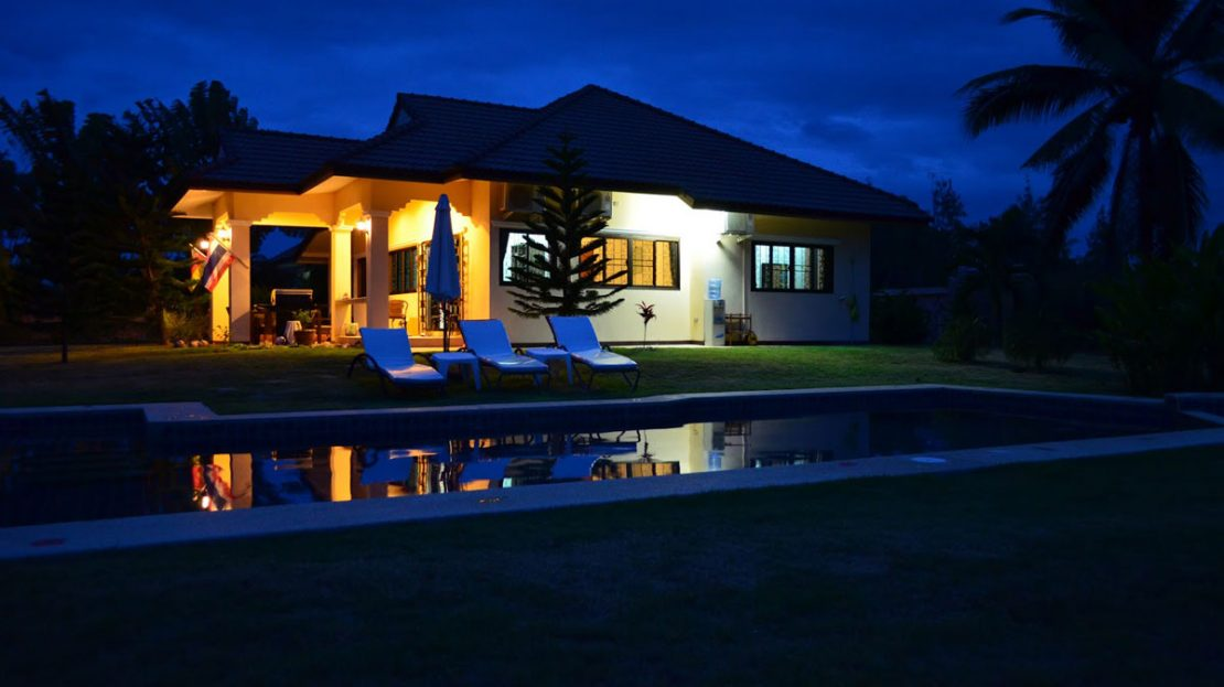 Night view - Tropical pool villa for sale in Pranburi